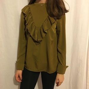Green ruffle blouse